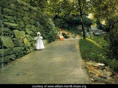 In The Park A By Path Painted by:William Merritt Chase Location:Museo Thyssen-Bornemisza - Madrid Dimensions:19.29 inch wide x 14.02 i...