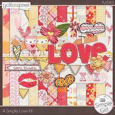 A Simple Love Digital Scrapbooking Page Kit. $3.50