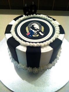 collingwood football cake - Google Search 50th Birthday Party, Birthday Candles, Birthday Cake, Collingwood Football Club, Wood Cake, Cupcake Cakes, Baby Cakes, Cupcakes, Cake Board