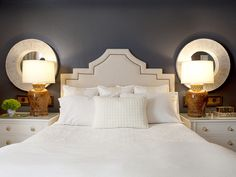Navy Paint Color w/ White Bedding and Accessories. Love this! http://www.hgtv.com/designers-portfolio/room/contemporary/bedrooms/4339/index.html#//room-bedrooms?soc=pinterest