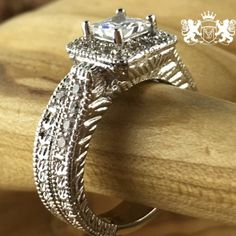 """2.5 ct Princess Cut Moissanite Forever Brilliantâ""""¢ Rhodium Layered over exotic surgical steel Engagement Ring Set"""