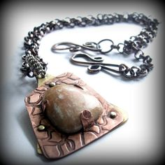 Handmade mixed metal and jasper stone pendant necklace  | Metal_Artistry - Jewelry on ArtFire
