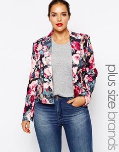 Plus Size Floral Ruched Sleeve Blazer | Charlotte Russe | Makeup ...