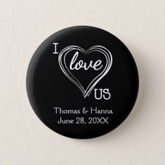 I Love Us Wedding Custom Color Pinback Button - valentines day gifts love couple diy personalize for her for him girlfriend boyfriend