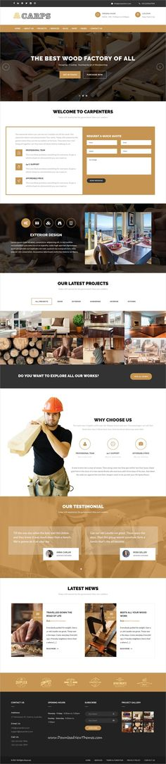 Carps is clean and modern design 2in1 responsive #WordPress theme for #carpentry and wood #crafts #website to live preview & download click on Visit