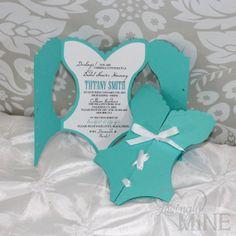 Tiffany & Co Inspired Corset Shaped Bridal Shower Invitations - Set of 6
