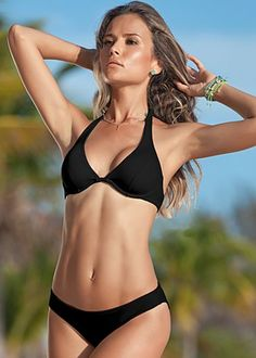 VENUS | Underwire Halter Top and Low Rise Moderate Bottom Swimsuit available in 15 solid colors!