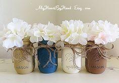 Rustic Home Decor, Wedding Centerpieces, Distressed Mason Jars, Mason Jar Decor, Country Decor, Painted Mason Jars, Flower Vases, Nursery by MyHeartByHand on Etsy https://www.etsy.com/listing/246750916/rustic-home-decor-wedding-centerpieces
