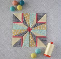 Splendid Sampler block made by Andy Knowlton of A Bright Corner.and past splendid sampler blocks Paper Piecing Patterns, Quilt Block Patterns, Pattern Blocks, Modern Quilt Blocks, Modern Quilting, Small Quilts, Mini Quilts, Quilting Projects, Quilting Designs