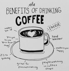 Wednesday Words of Wisdom – August 7, 2013 | thesassylife - benefits of coffee illustration