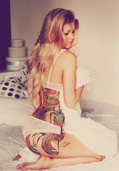 Phoenix tattoo side hip waist color