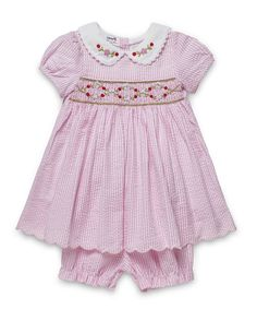 74e0ceae4 Aurora Royal baby girls pink cotton dress with delicate hand smocking on  the chest and matching
