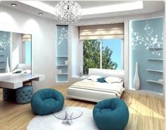 Love the clean look of this room. Pastel turquoise and white and grey.