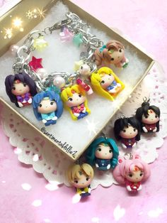 Sailor Moon Jewelry, Sailor Moon Bracelets, Sailor Moon Crystal Jewelry, Kawaii Polymer Clay Charms, Please pick 5 and let me know!