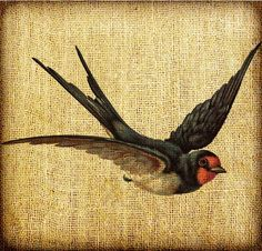 Barn Swallow Flying Vintage Digital Image Transfer Download 300 dpi for Pillows Totes Bags Napkins Towels. $3.25, via Etsy.