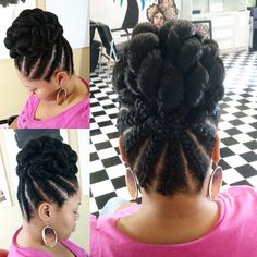 Updo Braids Black Hair Gallery 103 stunning and easy to do braided updo for all occasions Updo Braids Black Hair. Here is Updo Braids Black Hair Gallery for you. Updo Braids Black Hair braids for black women with short hair. Black Hair Updo Hairstyles, Braided Hairstyles For Wedding, My Hairstyle, Girl Hairstyles, Cornrow Updo Hairstyles, Natural Hair Updo, Natural Hair Styles, Black Braided Updo, Braid Updo Black Hair