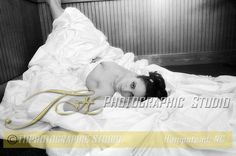 Black and White Wedding Portrait of Bride Laying Down