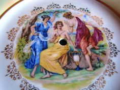 Antique rucni prace mz czech republic plate of cake stand painted gold women