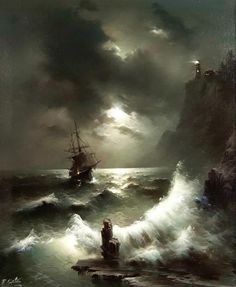 Returning by Eugene Garin Ship Paintings, Great Paintings, Bateau Pirate, Sea Storm, Old Sailing Ships, Moonlight Painting, Victorian Paintings, Ship Drawing, Art Graphique