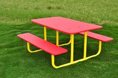 Find top-quality kids picnic tables at great prices when you shop #playtime today. Our child-size picnic table holds up to 6 little ones for social interaction and fun! #playgroundequipment