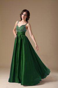 Floor-length Hunter Green Spaghetti Straps Beaded Chiffon Prom Evening Dress