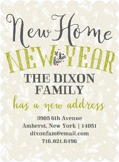 Starting Anew - Moving Announcements - Sarah Hawkins Designs - Chartreuse -  | www.TinyPrints.com