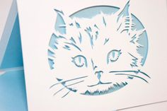 Cat Card of Cut Paper by starflycreations on Etsy, $10.00
