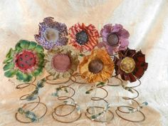 :*) Bed Spring Crafts, Spring Projects, Spring Art, Summer Crafts, Fall Crafts, Crafts To Make, Christmas Crafts, Shabby Flowers, Fabric Flowers