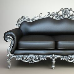 If only this baroque metal and leather sofa were REAL!