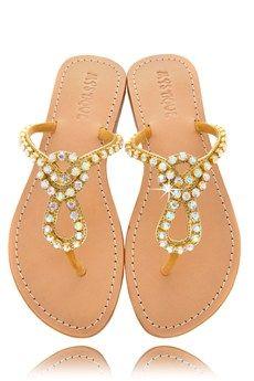 MYSTIQUE Gold Crystal Thong Sandals - SHOES | SANDALS | PRET-A-BEAUTE.COM