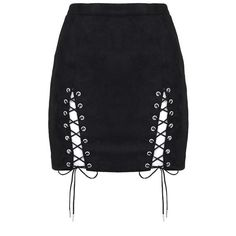 Suede Lace-Up Mini Skirt Black (€28) ❤ liked on Polyvore featuring skirts, mini skirts, bottoms, saias, lace up skirt, short mini skirts, mini skirt, suede leather skirt and suede mini skirt