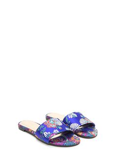 Floral Decision Satin Slide Sandals GoJane.com