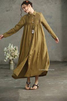 Golden Linen Shirt Dress button down linen dress Drop Linen Tunic Dress, Linen Dresses, Maxi Dresses, Hijab Fashion, Fashion Outfits, Oversized Dress, Button Dress, Mode Style, Ladies Dress Design