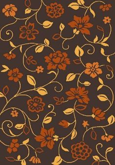 Frieze 0X105 Burnt Orange, Dark Brown and Golden-Yellow Flower Print 5x7 (5'3x7'4) Area Rug by Persian-Rugs, http://www.amazon.com/dp/B00BEE9CC8/ref=cm_sw_r_pi_dp_TN62rb1DS735R