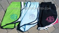 Monogrammed Running Shorts- Womens and Youth Sizes. $19.00, via Etsy.