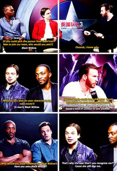 Sebastian ⭐️ Stan and Anthony Mackie I Understood That Reference, Chris Evans Funny, Romanogers, United We Stand, Marvel X, Comics Universe, Sebastian Stan, Marvel Characters, Superwholock
