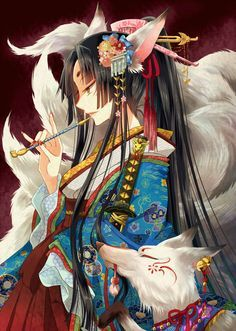 1girl animal_ears black_hair facial_mark fingernails flower fox fox_ears fox_tail hair_ornament japanese_clothes kimono kiseru long_fingernails long_hair multiple_tails nail_polish nekozuki_yuki original pipe smile sword tail weapon yellow_eyes