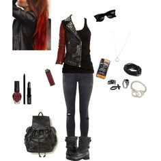 """""""Black and Red Rocker"""" by mizzizzy-18 on Polyvore"""