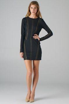 Embellished Long Sleeve Bodycon Dress (Black) - Front