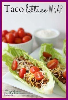 Taco Lettuce Wrap Recipe - I love lettuce tacos Taco Lettuce Wraps, Lettuce Wrap Recipes, Lettuce Wraps Ground Beef, Healthy Lettuce Wraps, Veggie Tacos, Clean Recipes, Cooking Recipes, Easy Recipes, No Carb Recipes