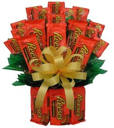 The All Reese's™ Bouquet consist of 12 large double pks. and 12 single pks. of Reese's Peanut Butter cups. This Bouquet is finished off with a full bow and wrapped in a cellophane bag.