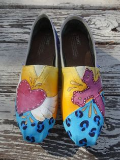 Custom hand painted TOMS my heart takes flight by solereflections, $65.00