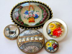 5 antique vintage metal glass buttons victorian old brass flowers dog scottie ...OOOOUUUUEEEE!!!|