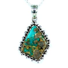 """FOX TURQUOISE PENDANT NECKLACE DEEP TEAL GREEN 16"""" from New World Gems"""