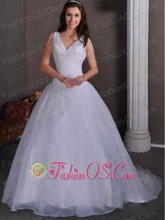 Simple A-line V-neck Ruch and Beading Wedding Dress Court Train Taffeta and Tulle- $217.69  http://www.facebook.com/quinceaneradress.fashionos.us  http://www.fashionos.com  | v neck ball gown with court train | ball gown with court train | simple ball gown bridal dress | sexy v neck bridal dress with ruch | v neck bridal dress with ruch | customer made wedding dresses with v neck and ruch |