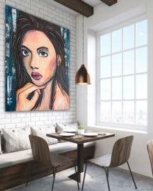 """Sfeerfoto Schilderij """"Woman from Israel""""."""
