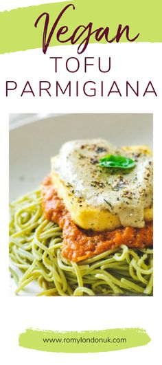This Vegan Tofu Parmigiana recipe is easy to make & with edamame pasta - high protein, high fibre, gluten free & a simply a great way to add more protein. Great Vegan Recipes, Tofu Recipes, Tofu Parmigiana Recipe, Simple Sesame Noodles, Edamame Pasta, Protein Pasta, Vegan Mozzarella, Easy Vegan Dinner