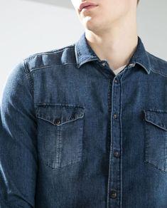 FADED JEANS - Slim Fit - MAN - DENIM | ZARA United States Faded Jeans, Blue Jeans, Denim Shirt Men, Denim Top, Party Shirts, Casual Shirts, Casual Dresses, Menswear, Denim Shirts