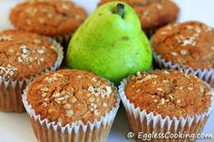 A simple, healthy and wholesome eggless muffin recipe using pear, walnuts, whole wheat pastry flour and oat bran.