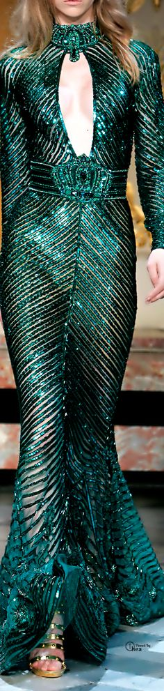 Zuhair Murad ~ Haute Couture Teal+Turquoise Crystal Mermaid Gown w Embroidered Choker 2014 Haute Couture Style, Couture Mode, Couture Fashion, Runway Fashion, Green Fashion, Daily Fashion, High Fashion, Zuhair Murad, Style Vert